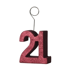 "Red Glittered ""21"" Photo/Balloon Holder"
