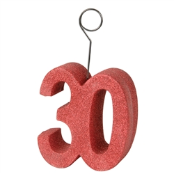 "Red Glittered ""30"" Photo/Balloon Holder"