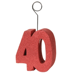 "Red Glittered ""40"" Photo/Balloon Holder"