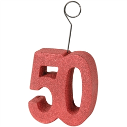"Red Glittered ""50"" Photo/Balloon Holder"