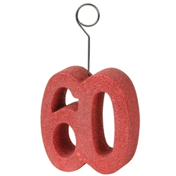 "Red Glittered ""60"" Photo/Balloon Holder"