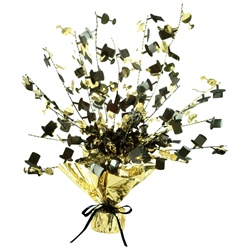 Black & Gold Champagne Glass & Top Hat Gleam 'N Burst Centerpiece