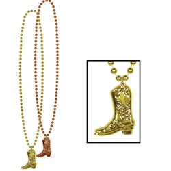 Beads with Cowboy Boot Medallion