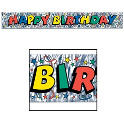 Metallic Happy Birthday Fringe Banner