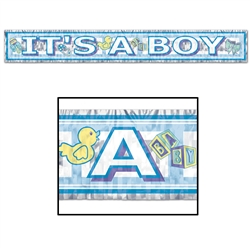 Metallic It's A Boy Fringe Banner
