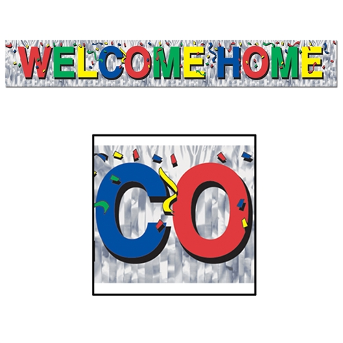 Metallic welcome home fringe banner patriotic for Patriotic welcome home decorations
