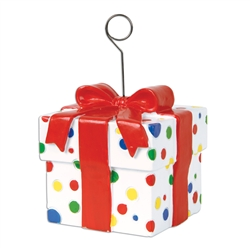 Polka Dots Gift Box Photo/Balloon Holder