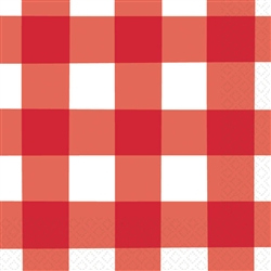 American Summer Red Gingham Beverage Napkins | 4th of July Tableware
