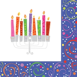 Playful Menorah Beverage Napkins | Party Supplies