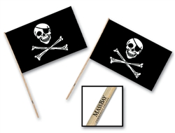 "4"" x 6"" Custom Imprinted Plastic Pirate Flag"