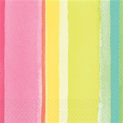 Sunny Stripe Pink Beverage Napkins | Party Supplies