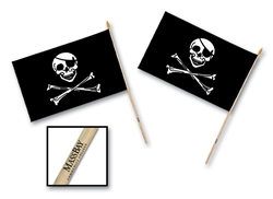 "4"" x 6"" Custom Imprinted Rayon Pirate Flag"
