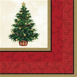 Classic Christmas Tree Beverage Napkins | Party Supplies
