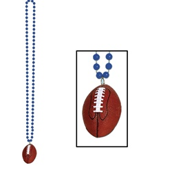 Blue Beads with Football Medallion