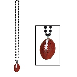 Black Beads with Football Medallion