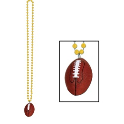 Gold Beads with Football Medallion
