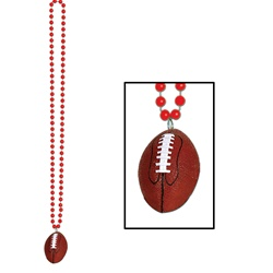 Red Beads with Football Medallion