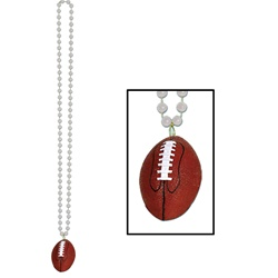 Silver Beads with Football Medallion