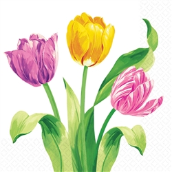 Bright Tulips Luncheon Napkins | Party Supplies
