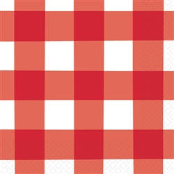 American Summer Red Gingham Luncheon Napkins | 4th of July Party Supplies