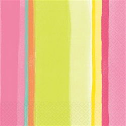 Sunny Stripe Pink Luncheon Napkins | Party Supplies