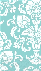 Robin's-egg Blue Damask Guest Towels | Party Supplies