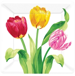 "Bright Tulips 7"" Square Plates 
