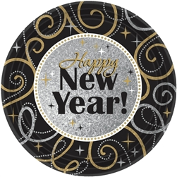 Sparkling New Year Round Prismatic Plates | New Year's Tableware