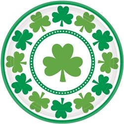 "Lucky Shamrocks 7"" Round Plates 