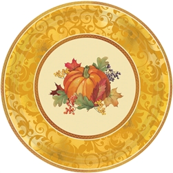 "Bountiful Holiday Paper Metallic 7"" Plates 
