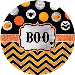 Modern Halloween Round Metallic Plates, 7"