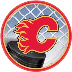 "Calgary Flames 7"" Round Paper Plates 