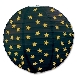 Black Paper Lanterns with Gold Stars