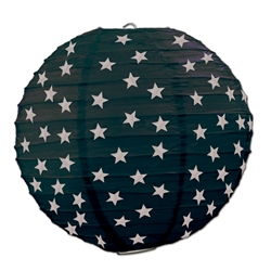 Black Paper Lanterns with Silver Stars