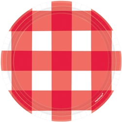 "American Summer Red Gingham 7"" Round Plates"