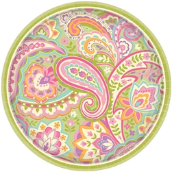 "Pretty Paisley 7"" Round Plates 