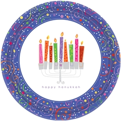 "Playful Menorah 7"" Round Paper Plates 