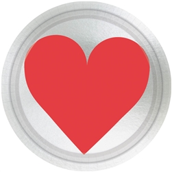 "Key To Your Heart 7"" Round Metallic Plates 