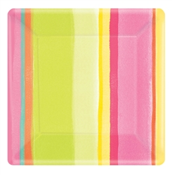 "Sunny Stripe Pink 7"" Square Plates 