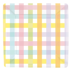 "Colorful Gingham 7"" Square Plates 