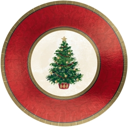 "Classic Christmas Tree 7"" Round Metallic Plates 