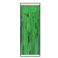 Green Packaged 1-Ply FR Metallic Table Skirting