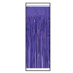 Purple Packaged 1-Ply FR Metallic Table Skirting