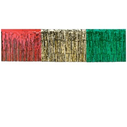 Red, Gold & Green Packaged 1-Ply FR Metallic Table Skirting