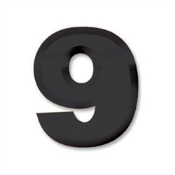 "Black Plastic 3-D Number ""9"""