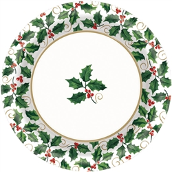 "Seasonal Holly 6-3/4"" Round Paper Plates 