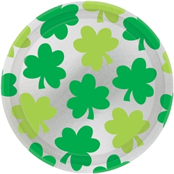 "Shamrock Shimmer 9"" Round Metallic Plates, 8ct. 