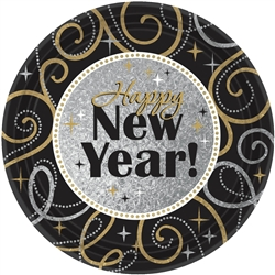 Sparkling New Year Round Prismatic Plates | New Year's Eve Tableware