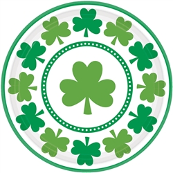 "Lucky Shamrocks 9"" Round Plates 