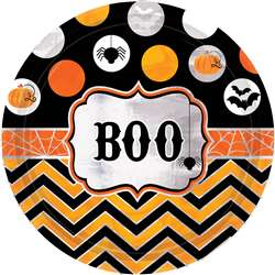 Modern Halloween Round Metallic Plates, 9"